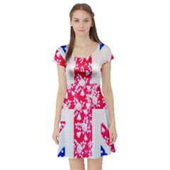 British Flag Abstract British Union Jack Flag In Abstract Design With Flowers Short Sleeve Skater Dress