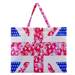 British Flag Abstract British Union Jack Flag In Abstract Design With Flowers Zipper Large Tote Bag by Nexatart