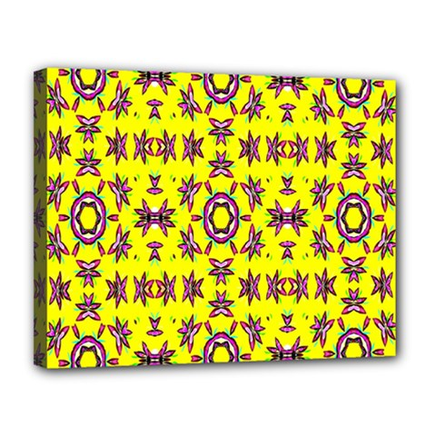 Yellow Seamless Wallpaper Digital Computer Graphic Canvas 14  X 11  by Nexatart