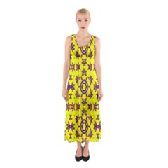 Yellow Seamless Wallpaper Digital Computer Graphic Sleeveless Maxi Dress