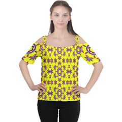 Yellow Seamless Wallpaper Digital Computer Graphic Women s Cutout Shoulder Tee