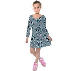 Kaleidoskope Digital Computer Graphic Kids  Long Sleeve Velvet Dress