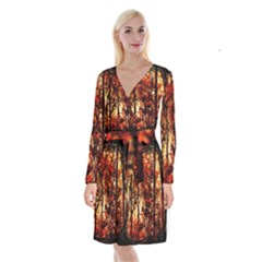 Forest Trees Abstract Long Sleeve Velvet Front Wrap Dress