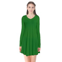 Dark Plain Green Flare Dress by Jojostore