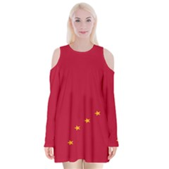 Alaska Star Red Yellow Velvet Long Sleeve Shoulder Cutout Dress by Jojostore
