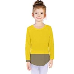 Trolley Yellow Brown Tropical Kids  Long Sleeve Tee by Jojostore