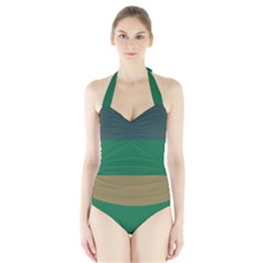 Blue Green Brown Halter Swimsuit by Jojostore