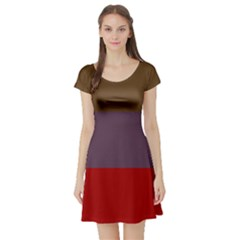 Brown Purple Red Short Sleeve Skater Dress by Jojostore