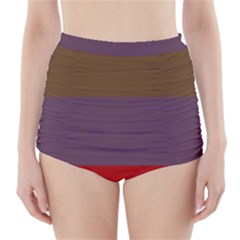 Brown Purple Red High Waisted Bikini Bottoms by Jojostore