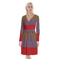 Brown Purple Red Long Sleeve Velvet Front Wrap Dress by Jojostore