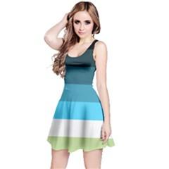 Line Color Black Green Blue White Reversible Sleeveless Dress by Jojostore
