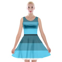 Line Color Black Green Blue White Velvet Skater Dress by Jojostore