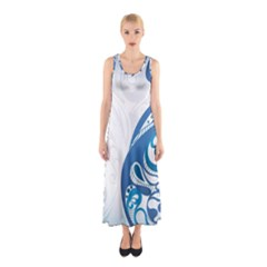 Delicate Tree Leaf Sleeveless Maxi Dress by Jojostore