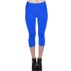 Plain Blue Capri Leggings  by Jojostore