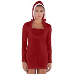 Plain Blue Red Women s Long Sleeve Hooded T Shirt by Jojostore