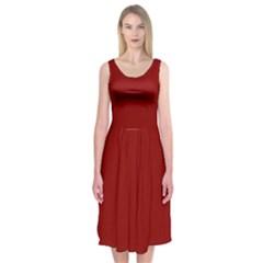 Plain Blue Red Midi Sleeveless Dress by Jojostore