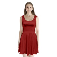 Plain Blue Red Split Back Mini Dress  by Jojostore