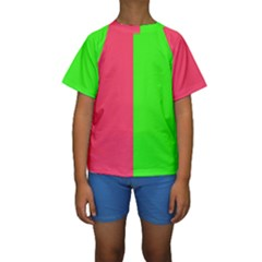 Neon Red Green Kids  Short Sleeve Swimwear by Jojostore