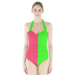 Neon Red Green Halter Swimsuit by Jojostore