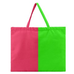 Neon Red Green Zipper Large Tote Bag by Jojostore