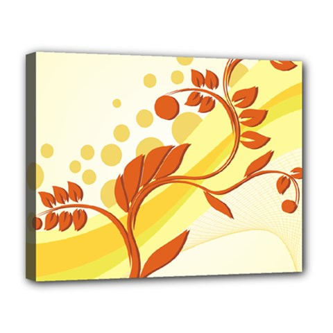 Floral Flower Gold Leaf Orange Circle Canvas 14  X 11  by Jojostore