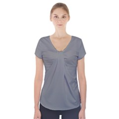 Plain Grey Short Sleeve Front Detail Top by Jojostore