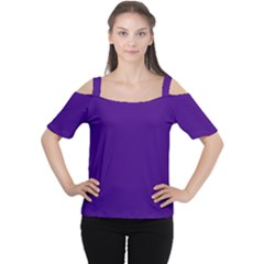 Plain Violet Purple Women s Cutout Shoulder Tee by Jojostore