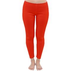 Plain Orange Red Classic Winter Leggings by Jojostore