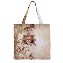 Floral Flower Star Leaf Gold Zipper Grocery Tote Bag by Jojostore