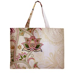 Floral Flower Star Leaf Gold Zipper Mini Tote Bag by Jojostore