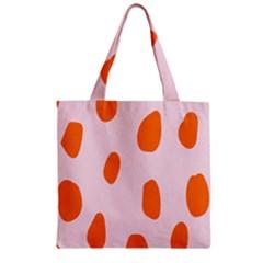 Polka Dot Orange Pink Zipper Grocery Tote Bag by Jojostore