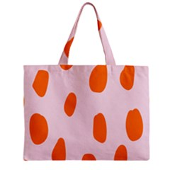Polka Dot Orange Pink Zipper Mini Tote Bag by Jojostore