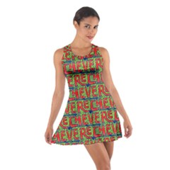 Typographic Graffiti Pattern Cotton Racerback Dress by dflcprintsclothing