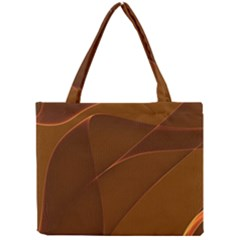 Brown Background Waves Abstract Brown Ribbon Swirling Shapes Mini Tote Bag