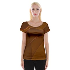 Brown Background Waves Abstract Brown Ribbon Swirling Shapes Women s Cap Sleeve Top
