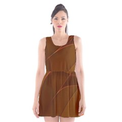 Brown Background Waves Abstract Brown Ribbon Swirling Shapes Scoop Neck Skater Dress