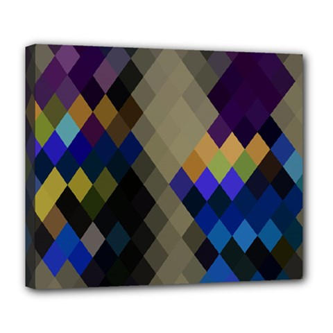 Background Of Blue Gold Brown Tan Purple Diamonds Deluxe Canvas 24  X 20   by Nexatart