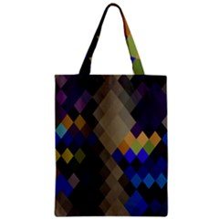 Background Of Blue Gold Brown Tan Purple Diamonds Zipper Classic Tote Bag by Nexatart