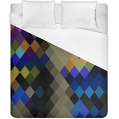 Background Of Blue Gold Brown Tan Purple Diamonds Duvet Cover (california King Size) by Nexatart