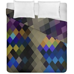 Background Of Blue Gold Brown Tan Purple Diamonds Duvet Cover Double Side (california King Size) by Nexatart