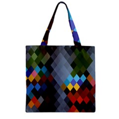 Diamond Abstract Background Background Of Diamonds In Colors Of Orange Yellow Green Blue And More Zipper Grocery Tote Bag by Nexatart
