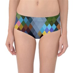 Diamond Abstract Background Background Of Diamonds In Colors Of Orange Yellow Green Blue And More Mid Waist Bikini Bottoms