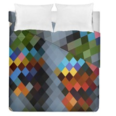 Diamond Abstract Background Background Of Diamonds In Colors Of Orange Yellow Green Blue And More Duvet Cover Double Side (queen Size)