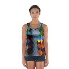 Diamond Abstract Background Background Of Diamonds In Colors Of Orange Yellow Green Blue And More Women s Sport Tank Top  by Nexatart