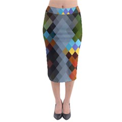 Diamond Abstract Background Background Of Diamonds In Colors Of Orange Yellow Green Blue And More Midi Pencil Skirt by Nexatart