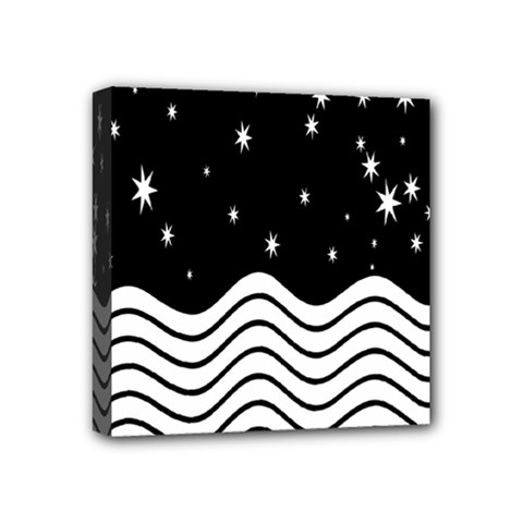 Black And White Waves And Stars Abstract Backdrop Clipart Mini Canvas 4  X 4  by Nexatart