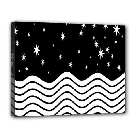 Black And White Waves And Stars Abstract Backdrop Clipart Canvas 14  X 11  by Nexatart