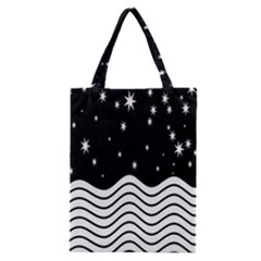 Black And White Waves And Stars Abstract Backdrop Clipart Classic Tote Bag by Nexatart