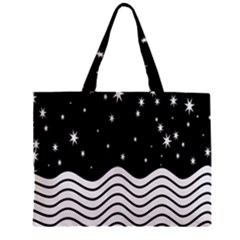 Black And White Waves And Stars Abstract Backdrop Clipart Zipper Mini Tote Bag by Nexatart