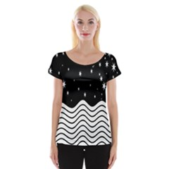 Black And White Waves And Stars Abstract Backdrop Clipart Women s Cap Sleeve Top by Nexatart